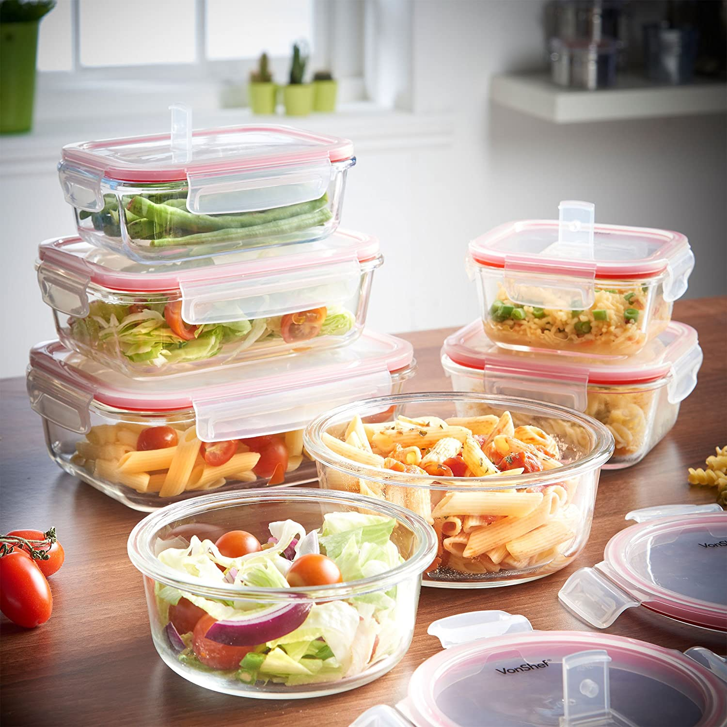 Amazon.com: VonShef 7 Piece Microwavable Glass Container Storage Set With Air  Vent Lids: Kitchen U0026 Dining