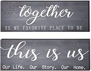 2 Pieces This is Us Our Life Our Story Rustic Print Wood Signs Together Rustic Wooden Wall Art Signs Farmhouse Entryway Signs for Bedroom Living Room Office Decor, 4.7 x 13.8 Inch (Pink Grey)