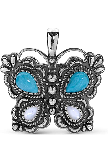 Santa Fe Charm Collection American West Brass and Sleeping Beauty Turquoise Butterfly Charm Enhancer