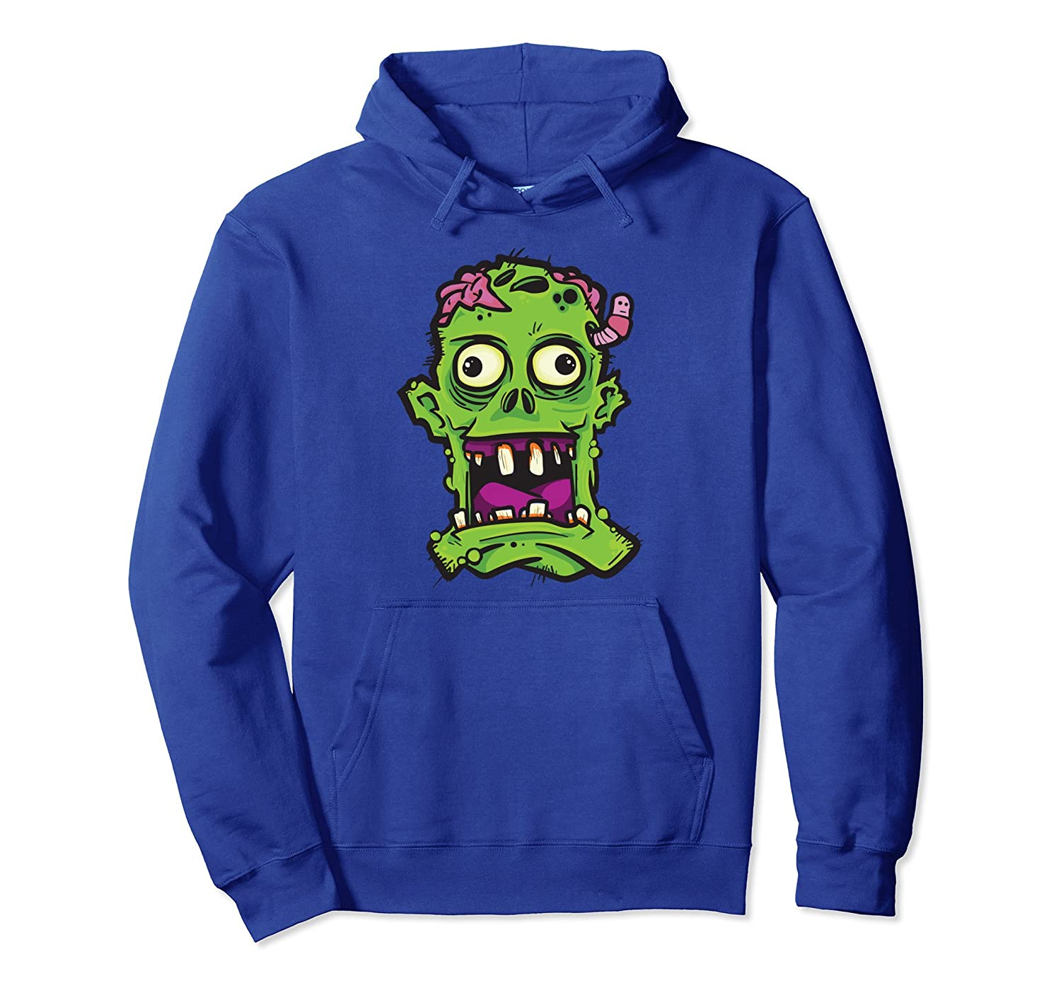 Zombie Face Scary Halloween Costume Graphic Horror Hoodie-mt