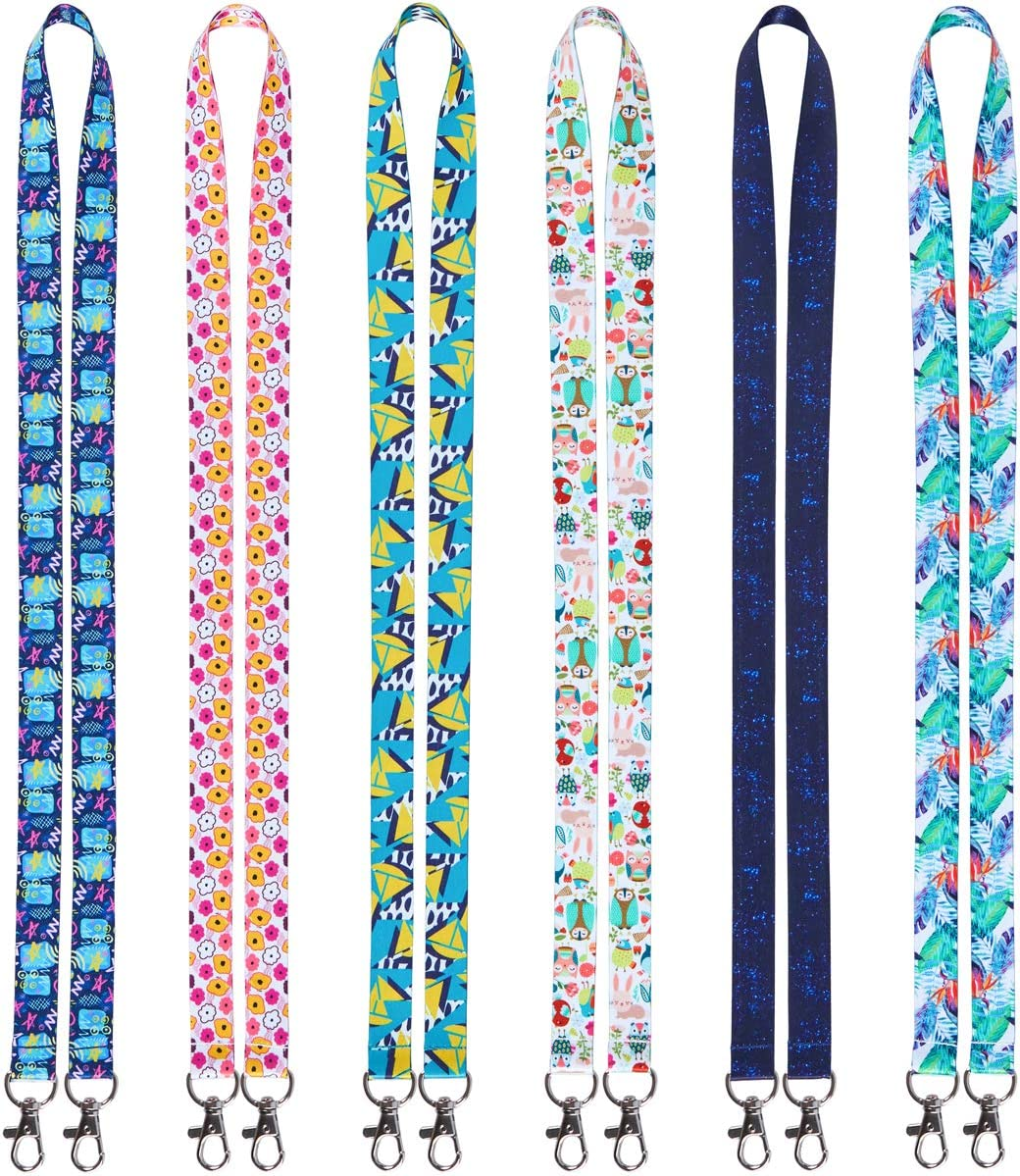 Lanyards for Kids face mask id Badges Holder 6 Pack Cute Lanyard Cartoon Owl YOUOWO Double Hook lanyards for ID Card Holder Bdges Keys Adult Keychains Neck Office Lanyard Wide0.79 inches 2cm