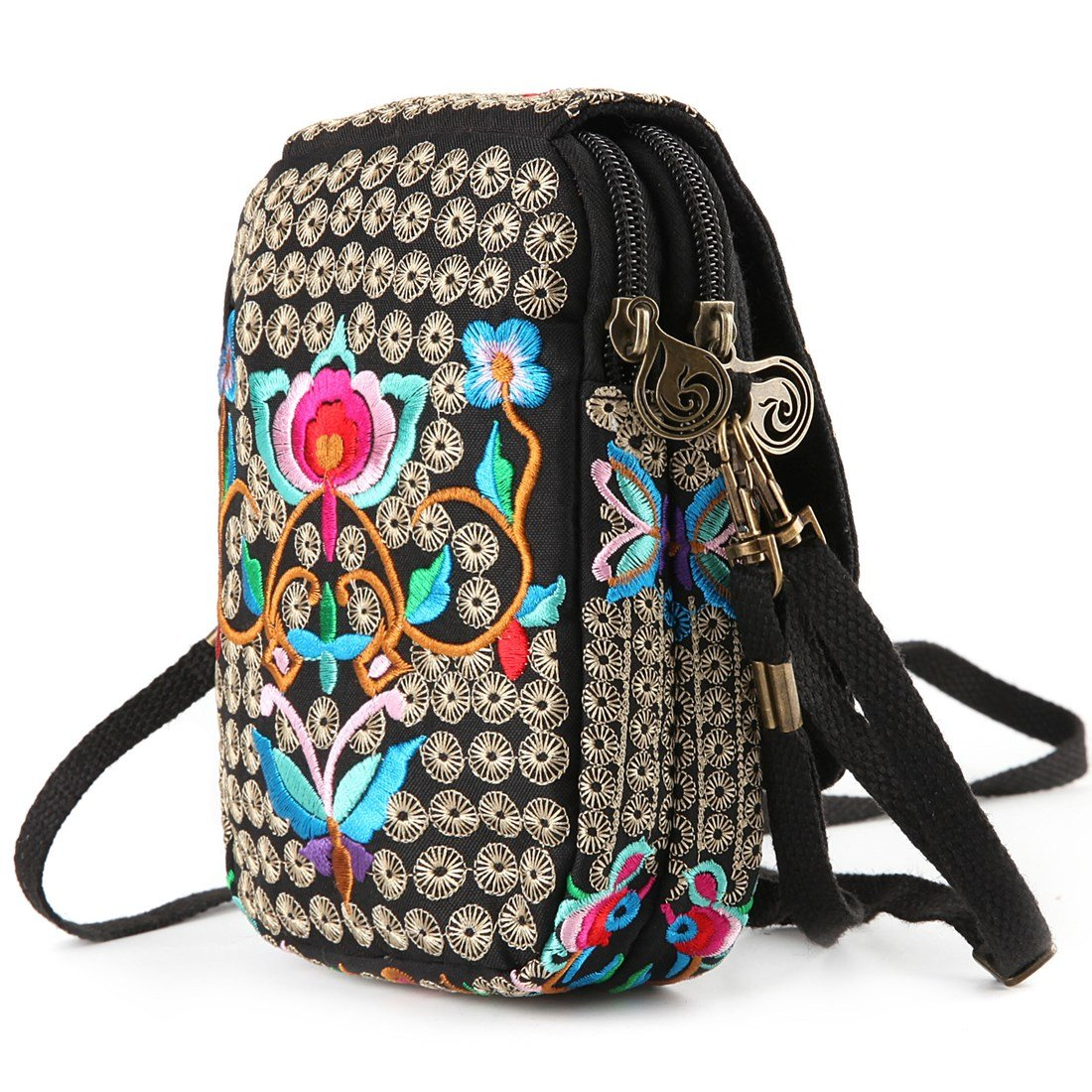 Embroidery Flowers Canvas Crossbody Bag, Women Messenger Bag, Cellphone Pouch Purse by Goodhan (Image #7)