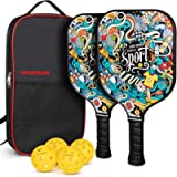 Vinsguir Pickleball Paddles Set, Pickleball Paddle Set of 2 Rackets and 4 Balls for Outdoor and Indoor, Lightweight…
