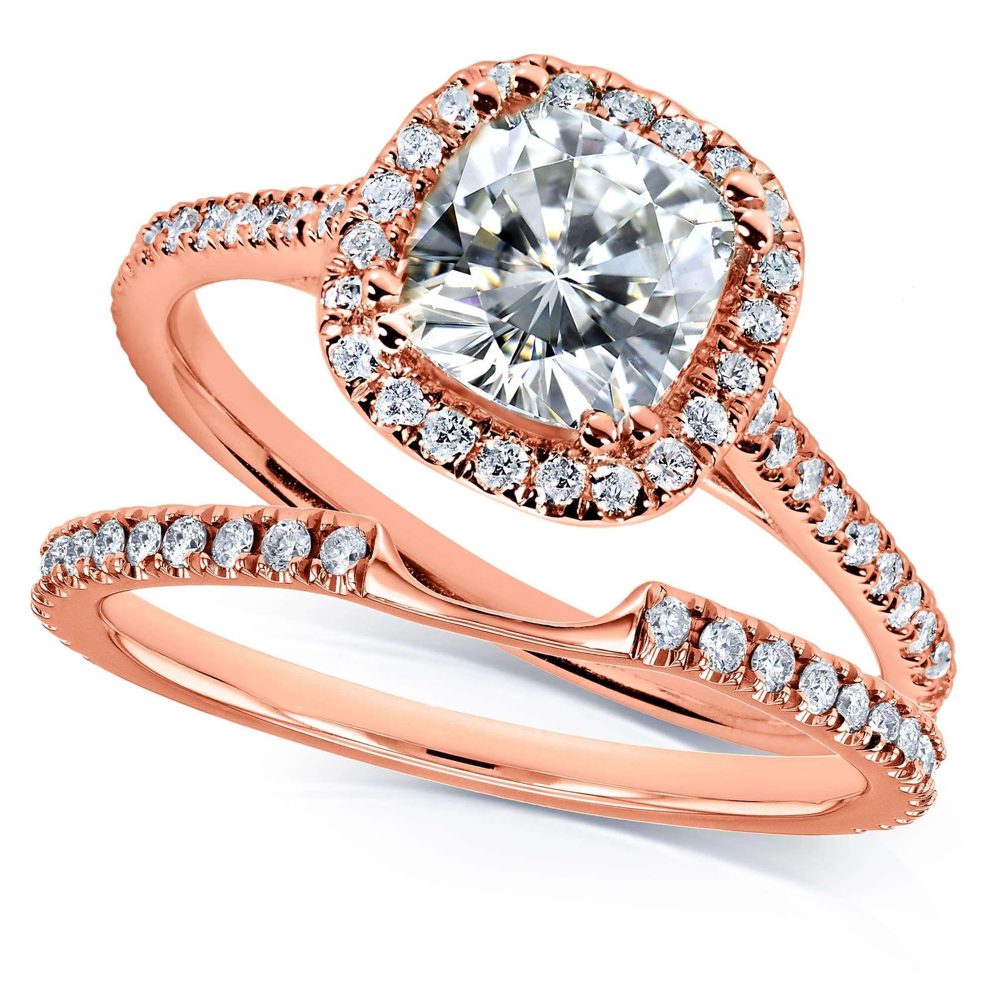 Kobelli Moissanite and Lab Grown Diamond Halo Bridal Rings Set 1 1/2 CTW in 14k Rose Gold (HI/VS, DEF/VS), 4.5