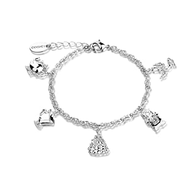 white plated beast beauty the disney dp gold charm bracelet characters