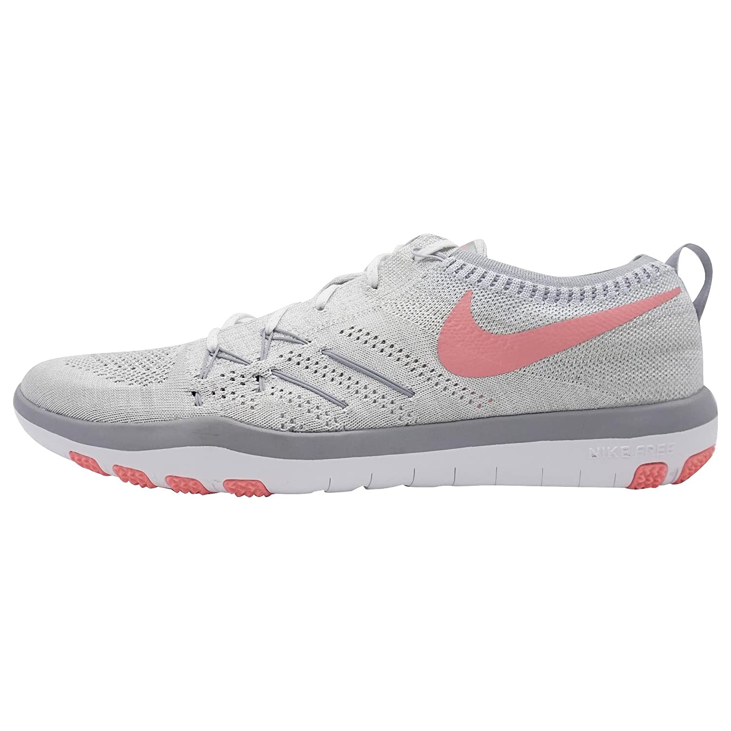 NIKE Womens Free Focus Flyknit Mesh Breathable Trainers B06VY13Y6R 6.5 B(M) US|White/Bright Melon/Wolf Grey