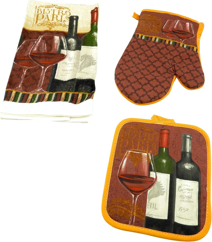 3 Piece Kitchen Set Includes Towel Pot Holder /& Oven Mitt Wine Bistro Design