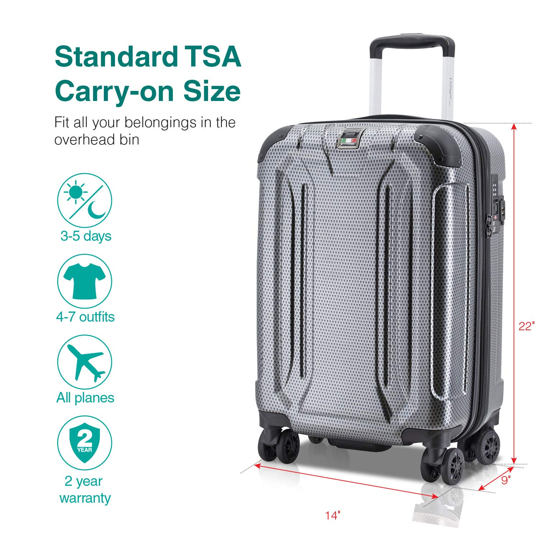 Amazon.com | Villago Hard Shell Carry On USB Port Polycarbonate 8 Wheel Spinner with Slash Proof Zipper TSA Lock Expandable Zipper and Corner Bumpers ...
