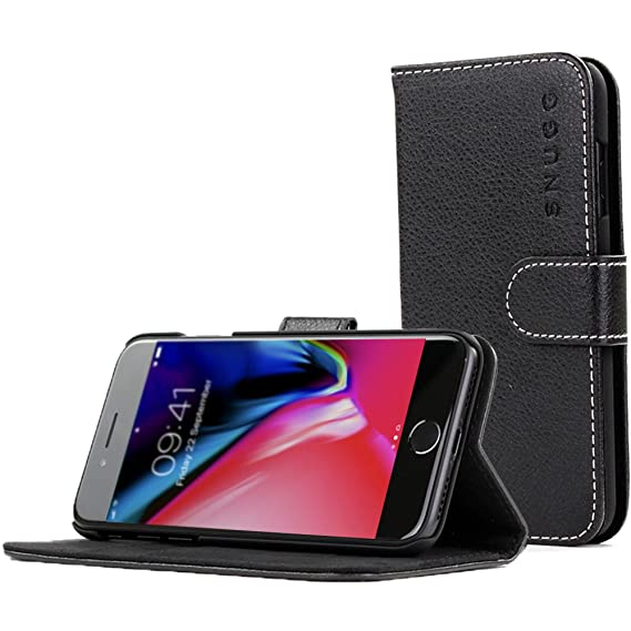 watch 589b3 ccc18 Snugg iPhone 7 and 8 Case Apple iPhone Flip [Card Slots] Leather Wallet  Cover Design in Black, Legacy Range