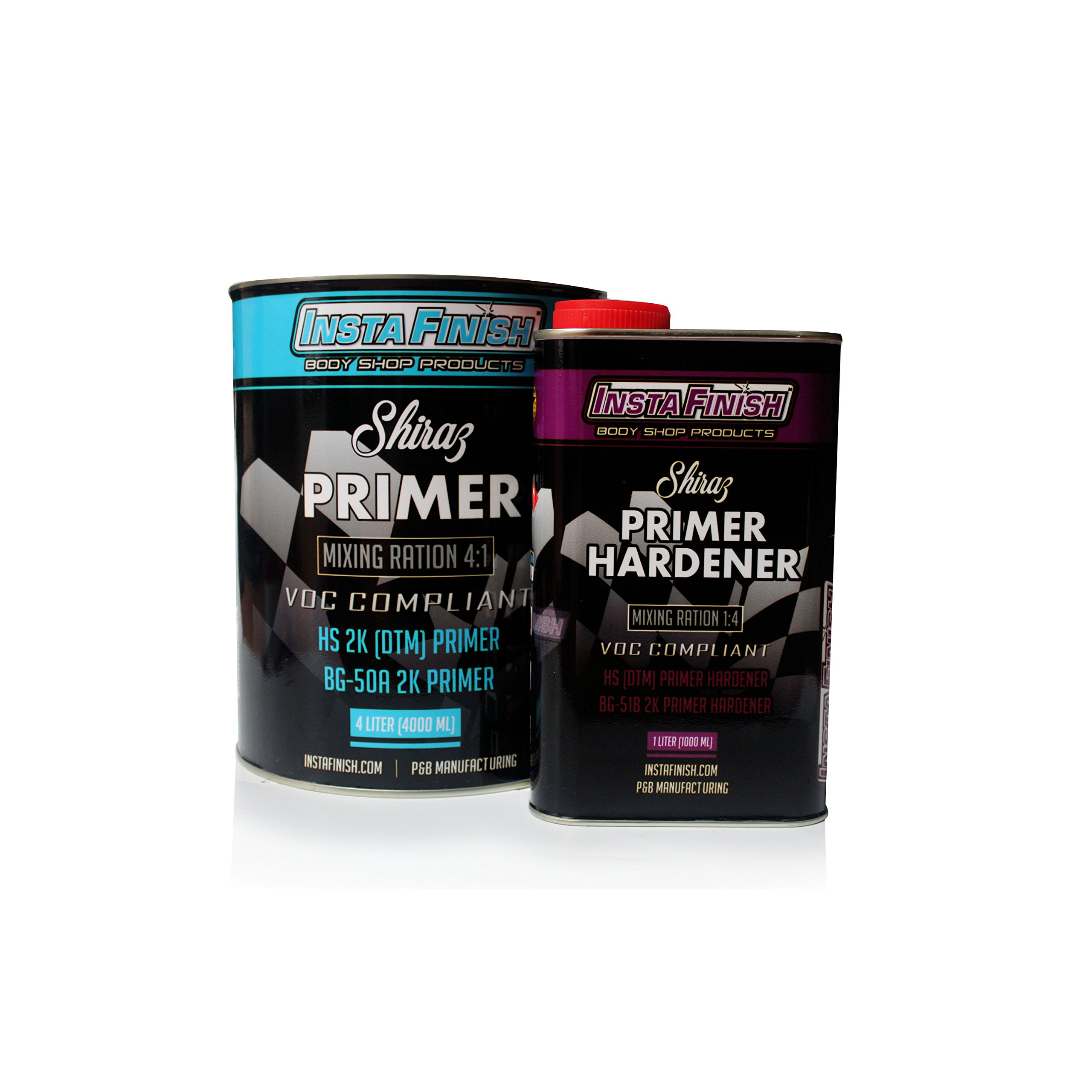 Insta Finish Shiraz Euro Classic DTM Primer (2.1 VOC) Light Gray 1 Gallon + Hardener included BG50A (5 LITERS TOTAL) + FREE PANEL SHOP 1200 POLISH