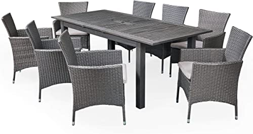 Great Deal Furniture Austin Outdoor 9 Piece Wood and Wicker Expandable Dining Set