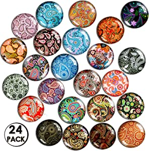 SOSMAR 24 Pack Glass Fridge Magnets Paisley, Decorative Refrigerator Magnets for Office Organizing Cabinet Whiteboard, Colorful Decoration Magnets for Map, Kid's Drawing, Message Card Using