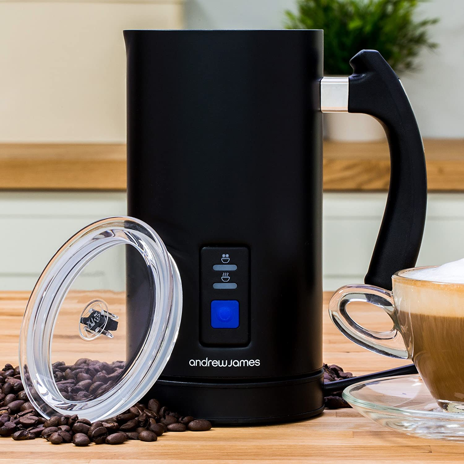 Andrew James Electric Milk Frother Heater Warmer Jug Machine 2 Attachments Including Whisk Ideal For Coffee Latte Or Cappuccino Non Stick