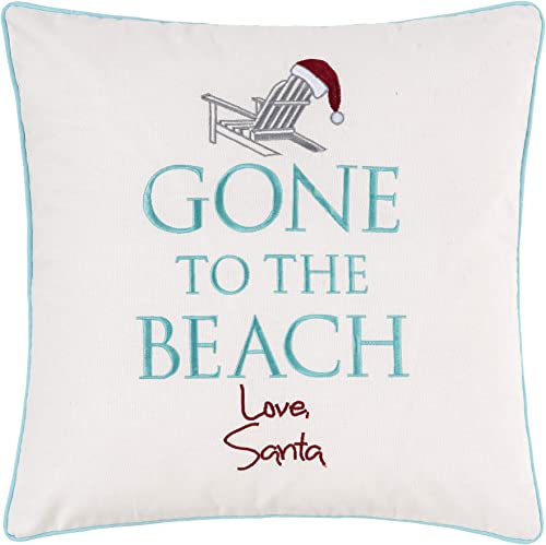 C F Home Gone to The Beach Pillow Winter Xmas Christmas Decorative Throw Pillow for Couch Chair Living Room Bedroom 18 x 18 White