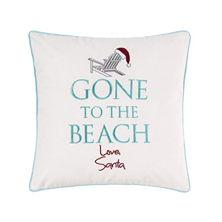 C F Home Gone to The Beach Love Santa Coastal Beach Christmas Xmas Embroidered Pillow 18 x 18 White