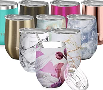 Stainless Steel Insulated Wine Tumbler - THILY Stemless Wine Glass with Lid and Straw, Splash-Proof, Cute Travel Cup for Coffee, Cocktails, Women, Mother, Wife, Girls, Lotus Flower