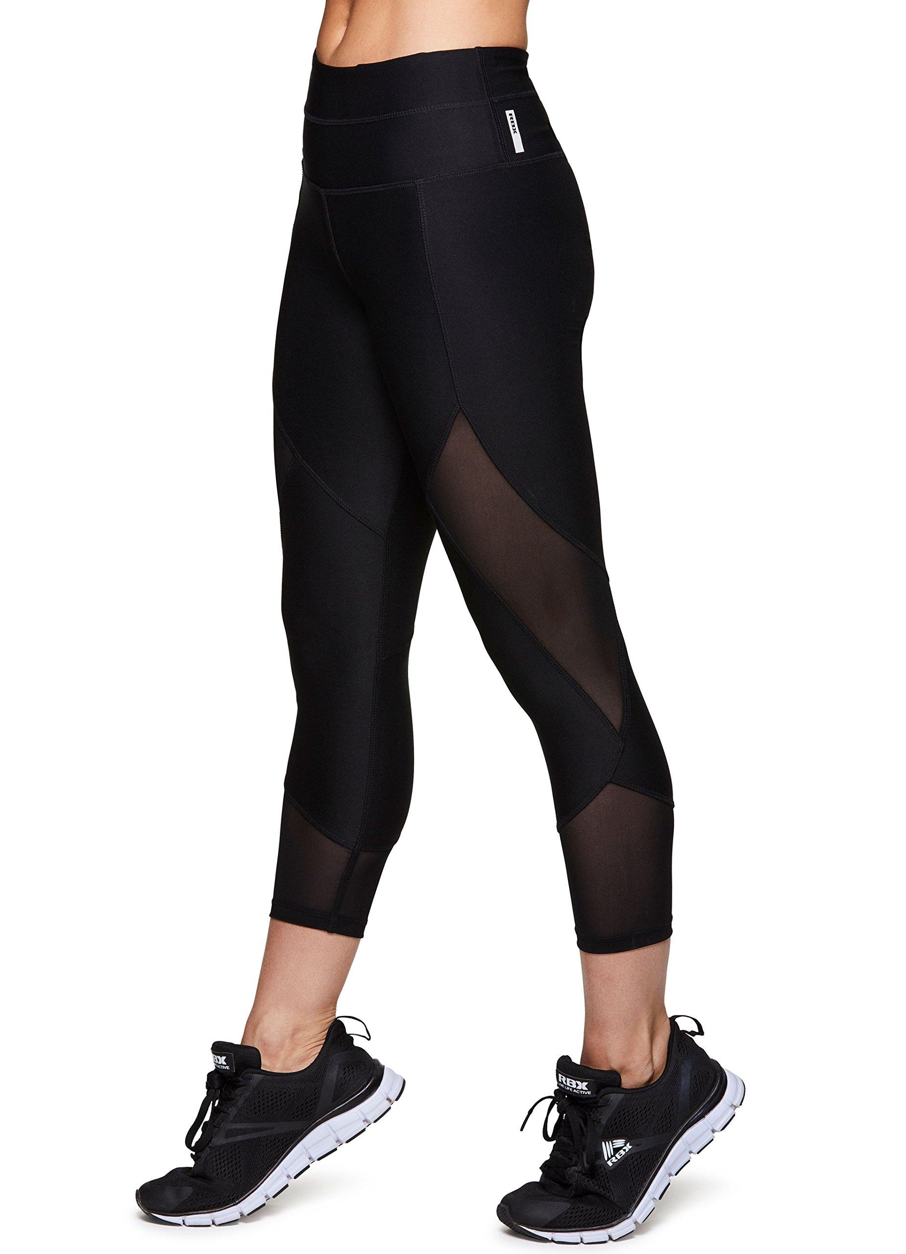 RBX Active Women's Yoga Capri Mesh Leggings Black M