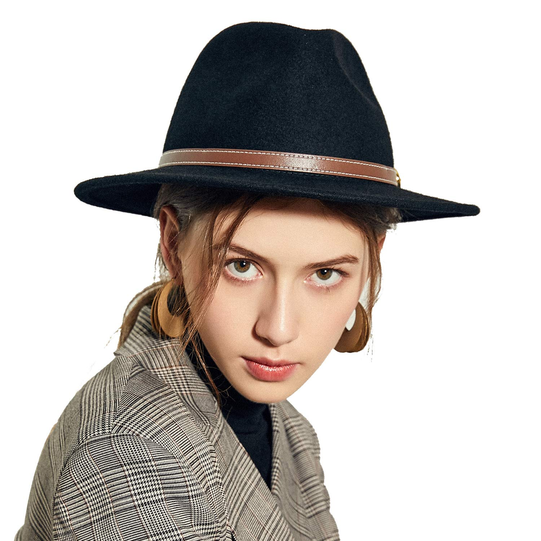 b1ef72b90e6 Sedancasesa Women Men s Crushable Wool Felt Outback Hat Wide Brim Fedora  Hats Black at Amazon Women s Clothing store