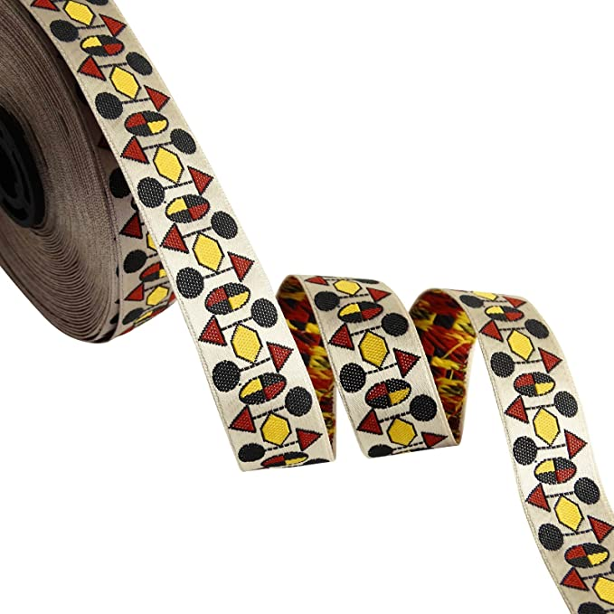 1 Yd Jacquard Ribbon Yellow Crafting Supply 2.5 Cm Wd Sari Border Lace