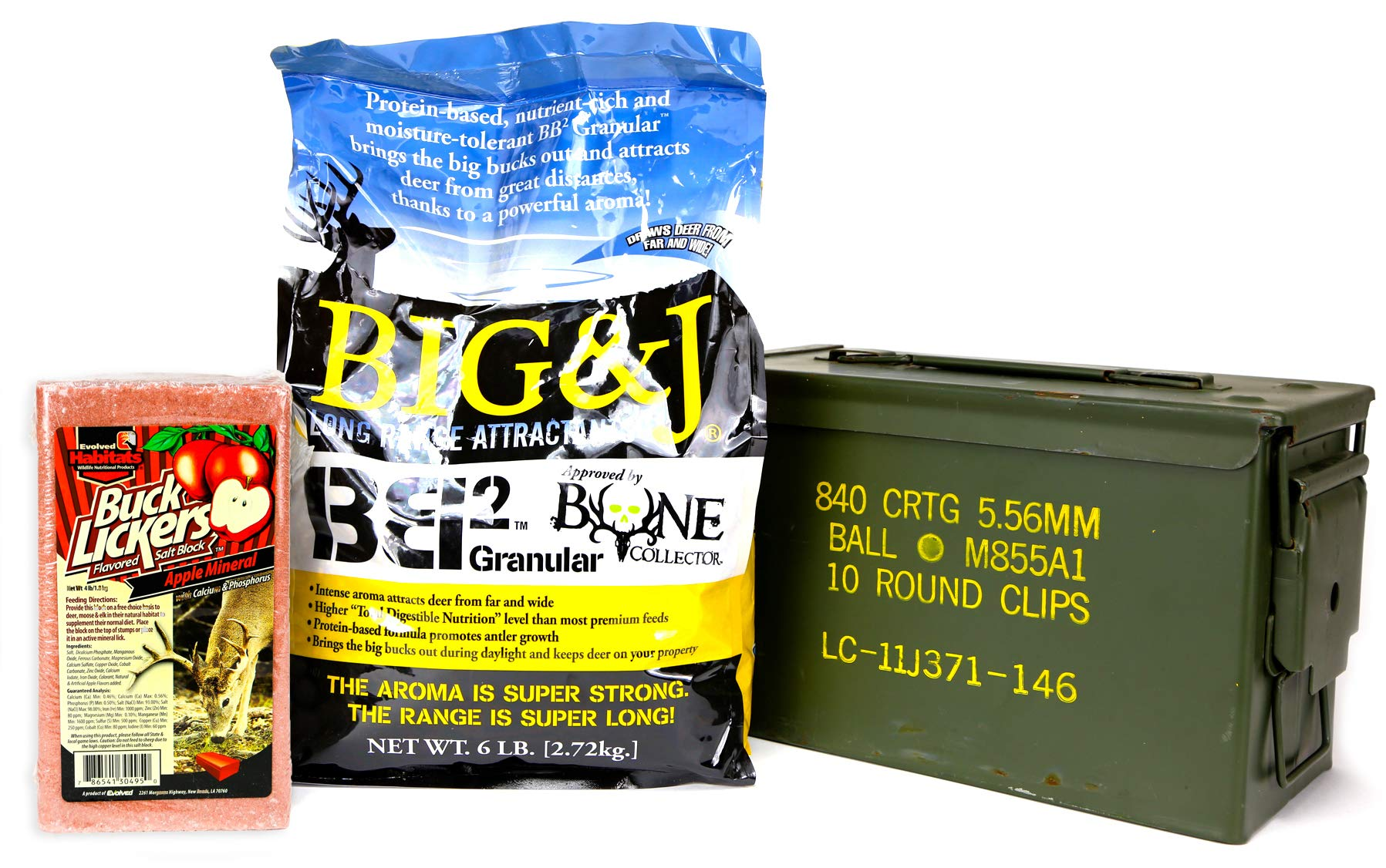 Big & J BB2 Granular Long Range Deer Feed/Attractant - 6 LB & Evolved Habitats Buck Lickers Apple Flavored Salt Brick - 4 LB Bundle Set & US Military Previously Issued 50-Caliber Ammo Box (3 Items)