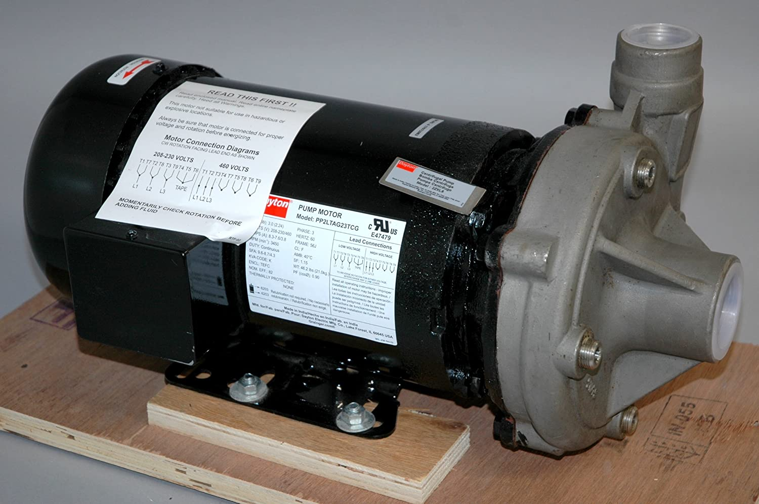 Wiring Diagram 12 Lead 460 Volt Motor Dayton Pp2ltag23tcg Pump With 2zxl6 Stainless Steel 3 Hp Centrifugal 208 230 460v Industrial Scientific