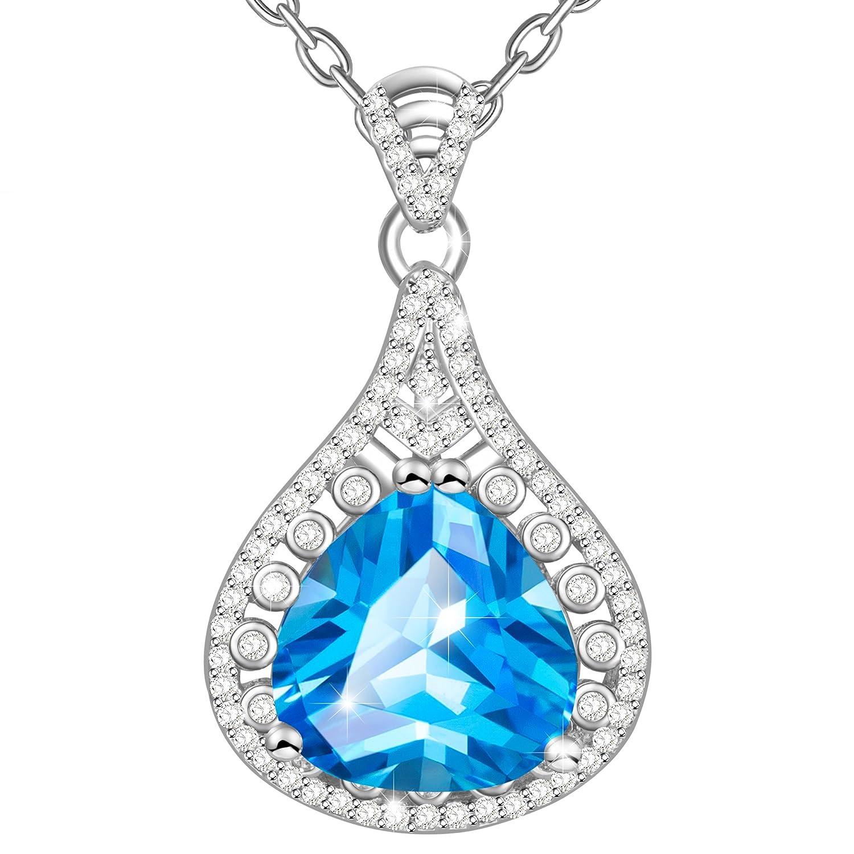 MARENJA Regalo San Valentín Collar Mujer de Moda Colgante Azul con Cadena
