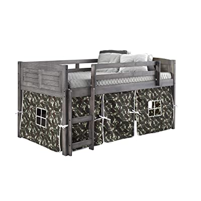 DONCO KIDS Louver Low Loft Bed with Camo Tent, Twin, Antique Grey: Kitchen & Dining