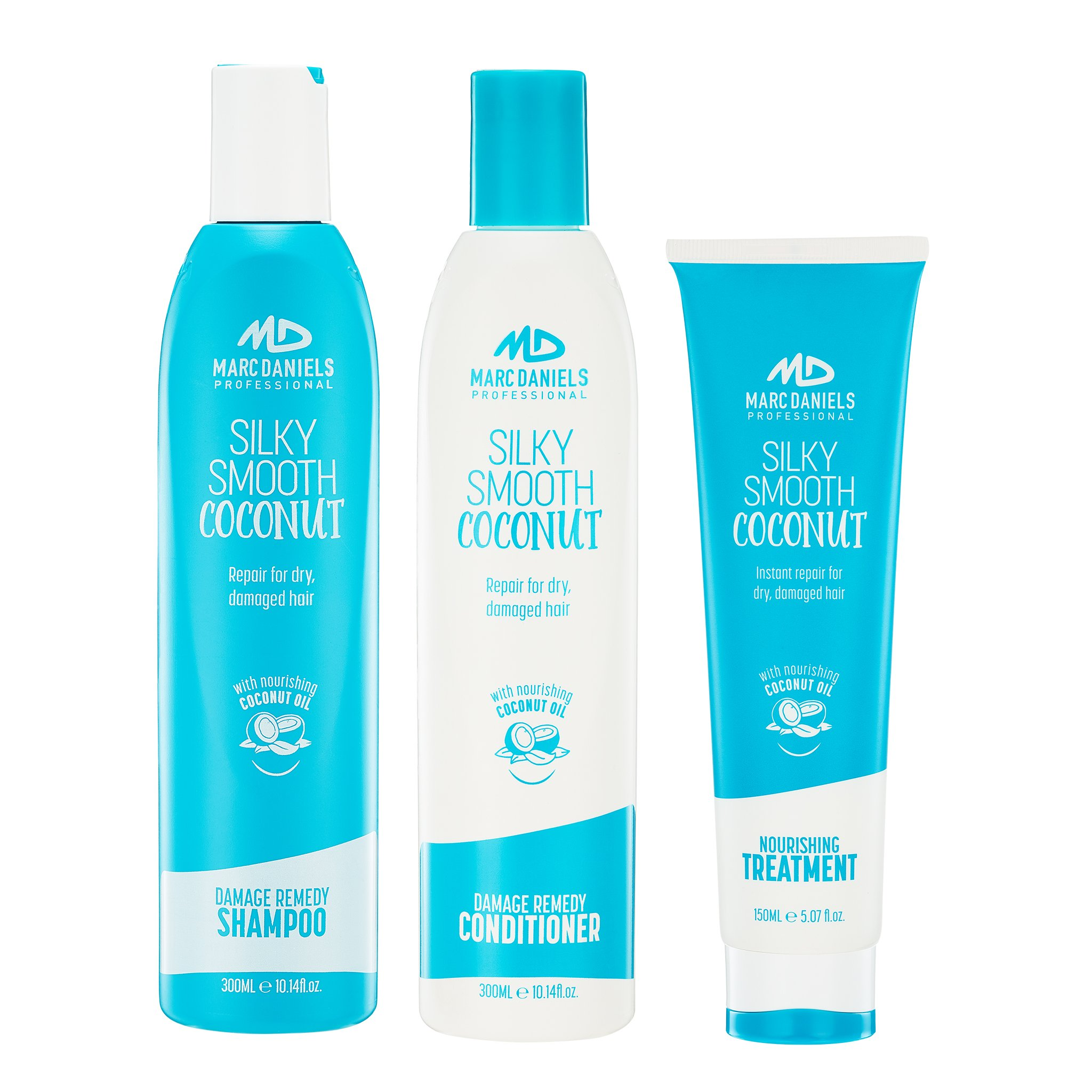 Coconut Oil Shampoo and Conditioner Sulfate Free with Hair Repair Treatment for Color Treated, Dry, Brittle and Damaged Hair. Deep Conditioning, Instantly Adds Restore Shine & Manageability by MARC DANIELS PROFESSIONAL