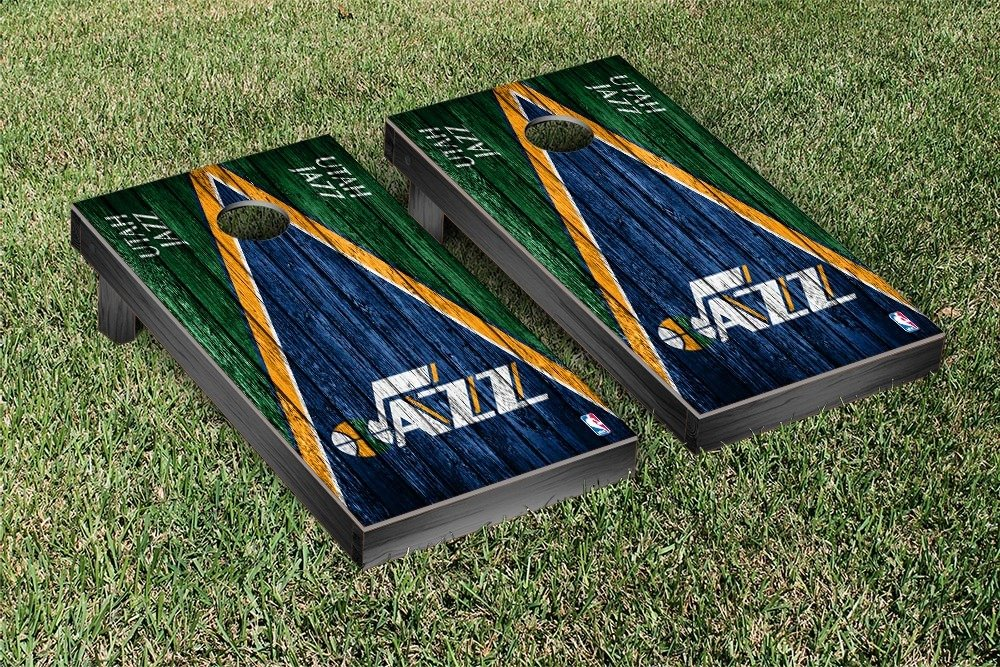 Utah Jazz NBA Basketball Regulation Cornhole Game Set Triangle Weathered Version