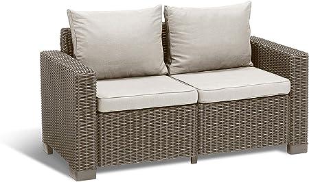 Keter Allibert California Cushion Pads Rattan Garden Furniture 2 Seater Grey