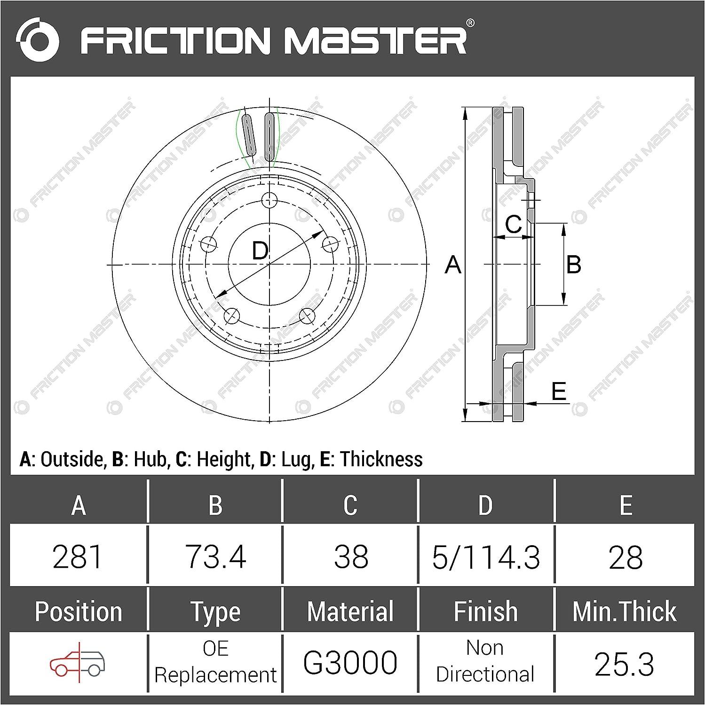 Friction Master R0644 Front Premium OE Brake Disc Rotors Set