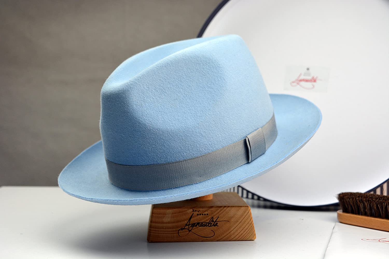 The Club - Light Blue Rabbit Fur Felt Fedora Hat - Medium Brim - Men Women a5a902b99b00