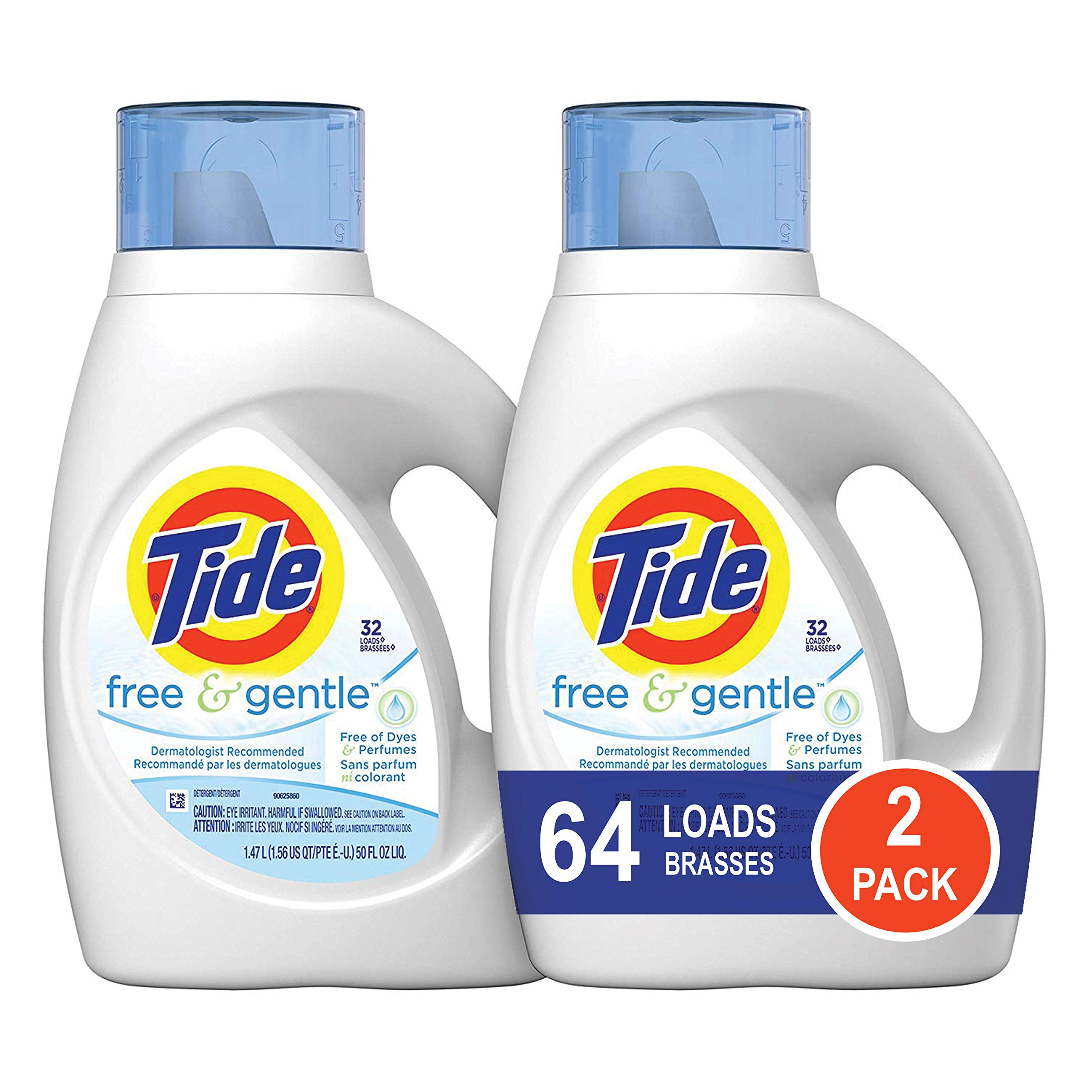 Tide Free and Gentle HE Liquid Laundry Detergent, 2 Pack of 50 oz., Unscented and Hypoallergenic for Sensitive Skin, 64 Loads by Tide