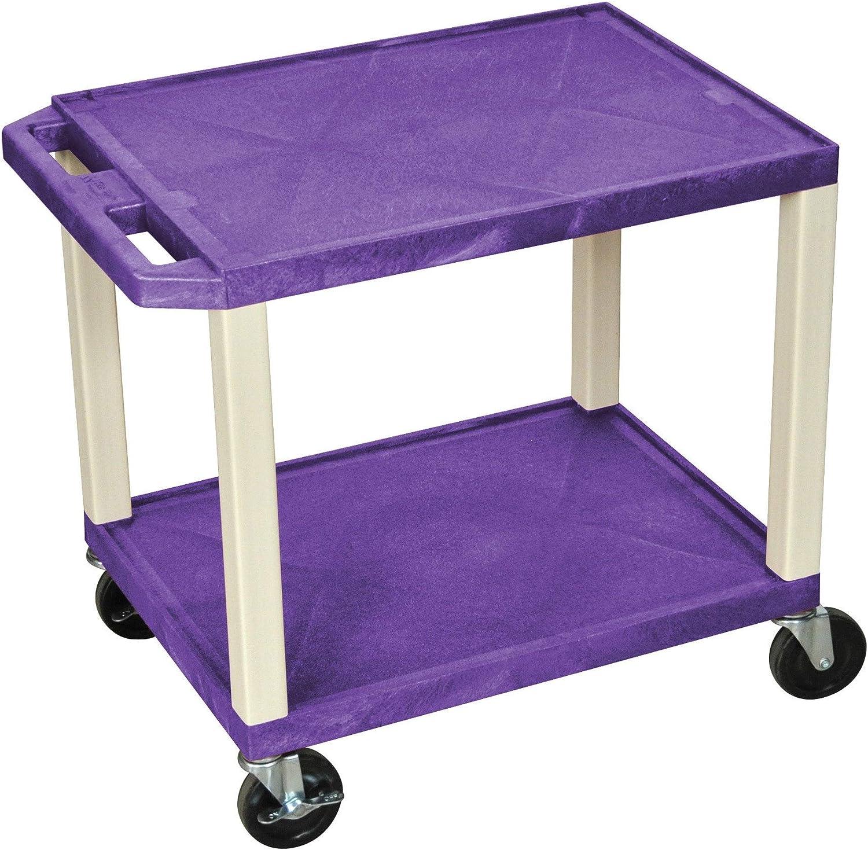 Luxor H. Wilson Tuffy Plastic Multipurpose Rolling Cart with Locking Brakes Blue Shelves Putty Legs