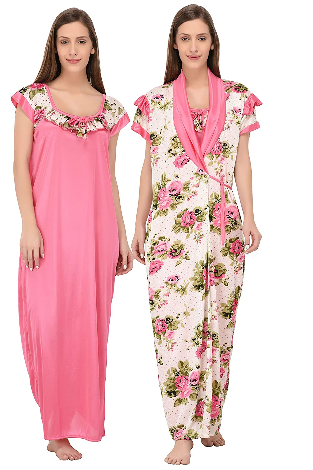 b608c2d993 Fabme Women s Satin Floral Two Piece Nighty - Robe and Nighty (Pink)   Amazon.in  Clothing   Accessories
