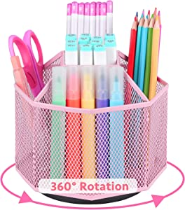 Cute Rotate Art Supply Organizer, Colored Pencil Holder - Art Caddy Accessories Carousel, Spinning Desk Office Supplies Storage for Home, Office, Classroom & Art Studio - Pink