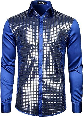 JOGAL Camisa de vestir para hombre con lentejuelas plateadas de manga larga con botones en la parte inferior de los años 70: Amazon.es: Ropa y accesorios