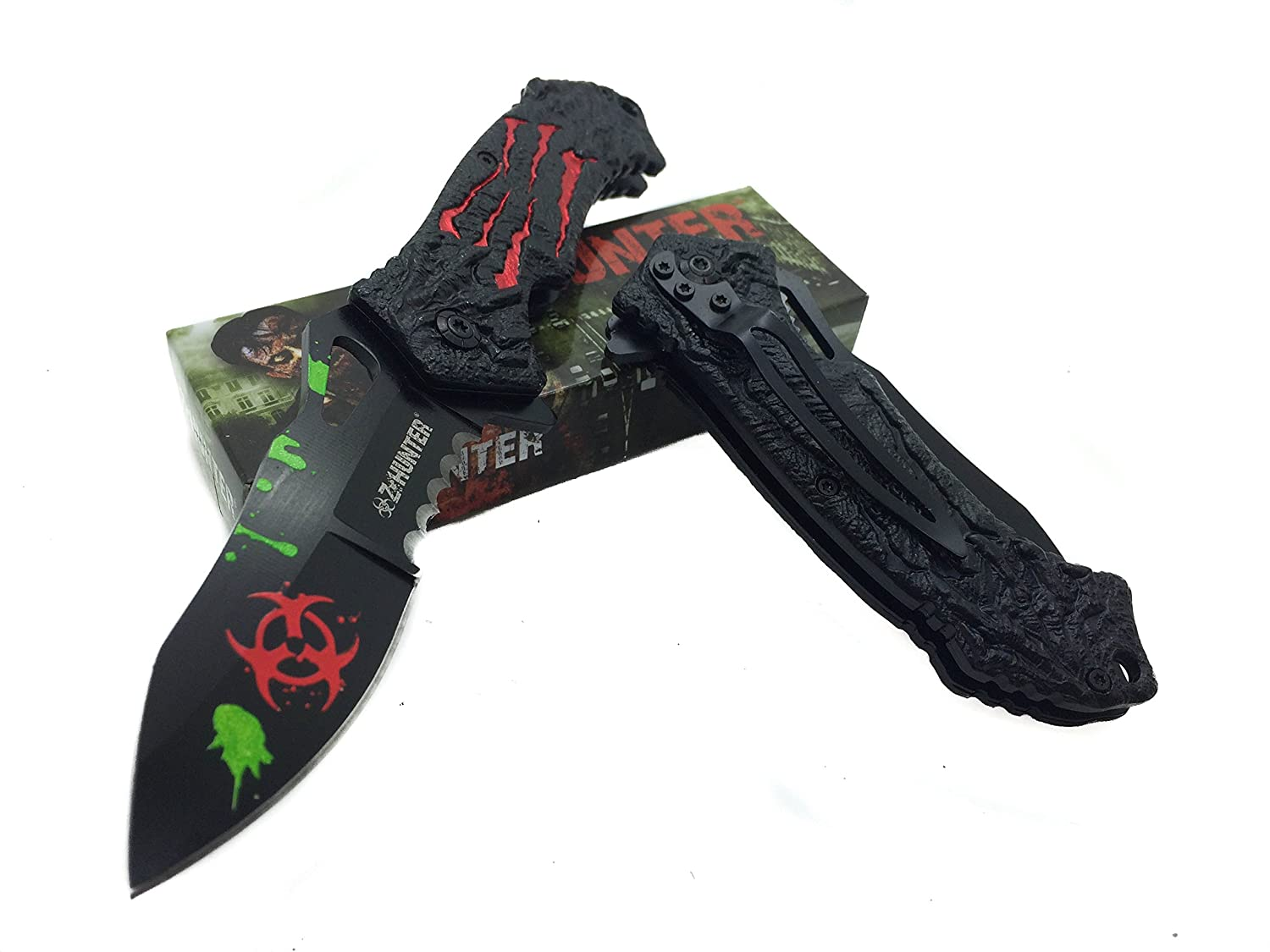 Z – Hunter Red Bio Hazard Logo on Blade Stainless Steel with Red Claw Pattern on Handle