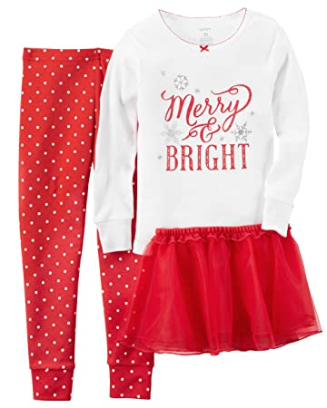 Amazon.com: Carter's Little Girls' Christmas 2-piece Cotton Pjs ...