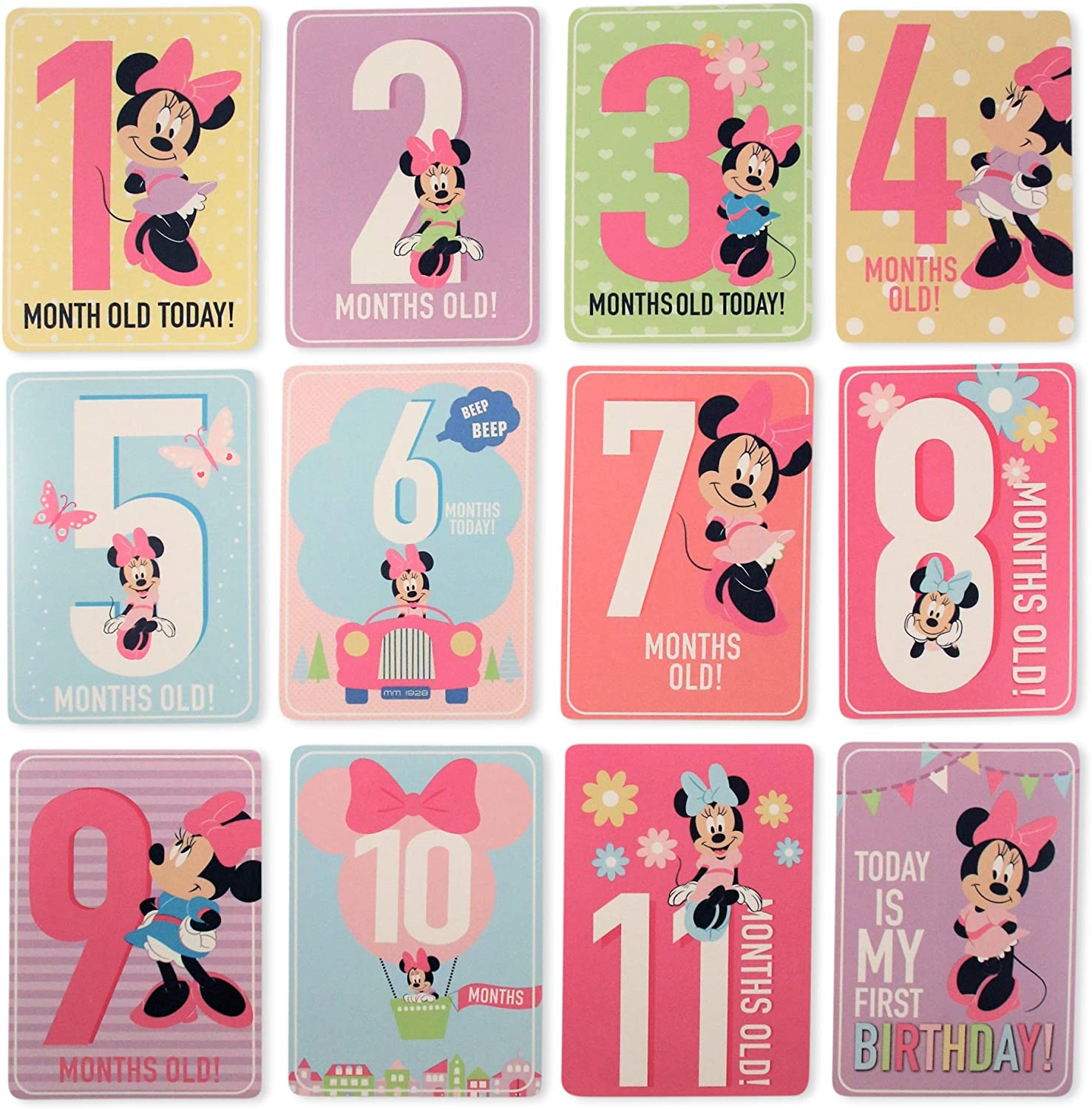 No Size Disney Baby Girls Character Milestone Cards Gift Set Minnie Mouse Milestone Cards