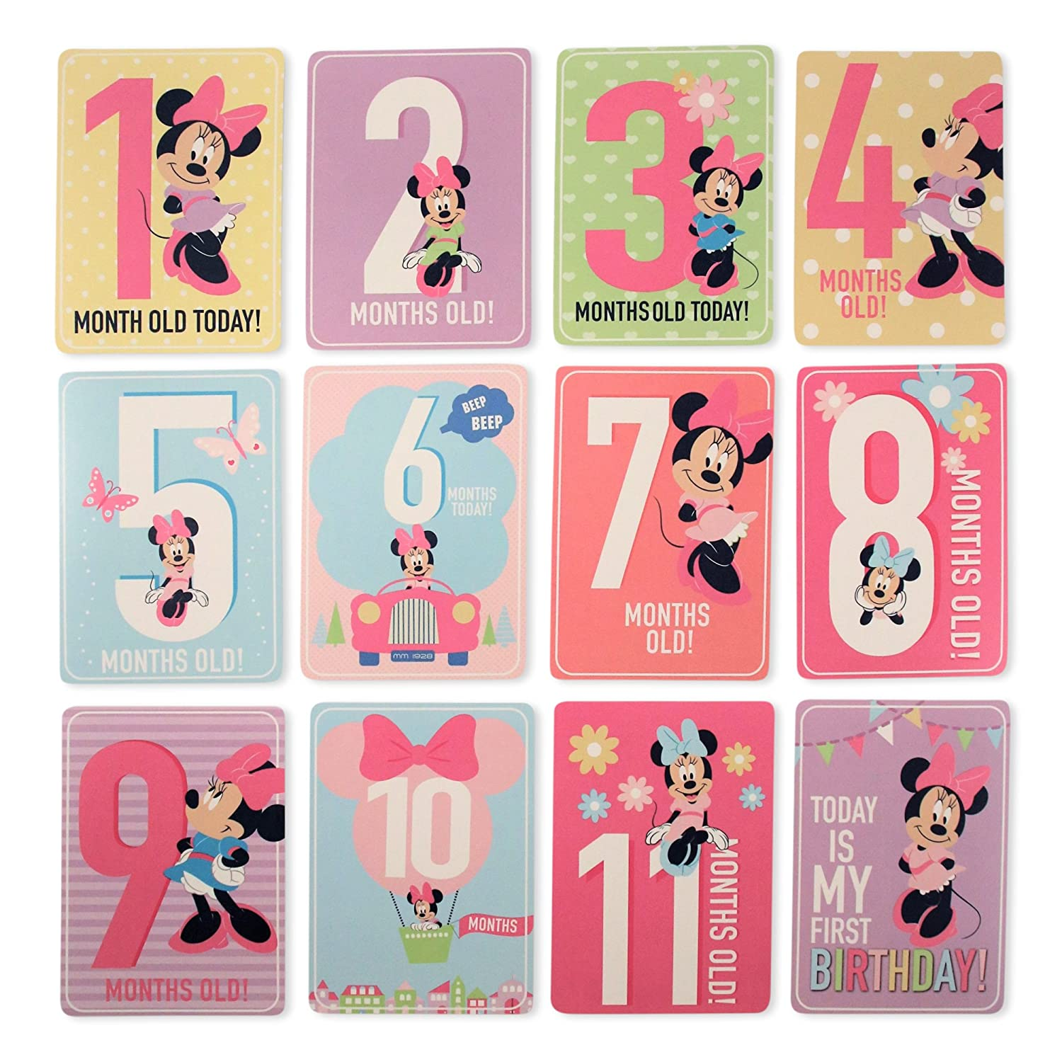 Disney Baby Girls Character Milestone Cards Gift Set, Minnie Mouse Milestone Cards, No Size Mickey Mouse IDA71759