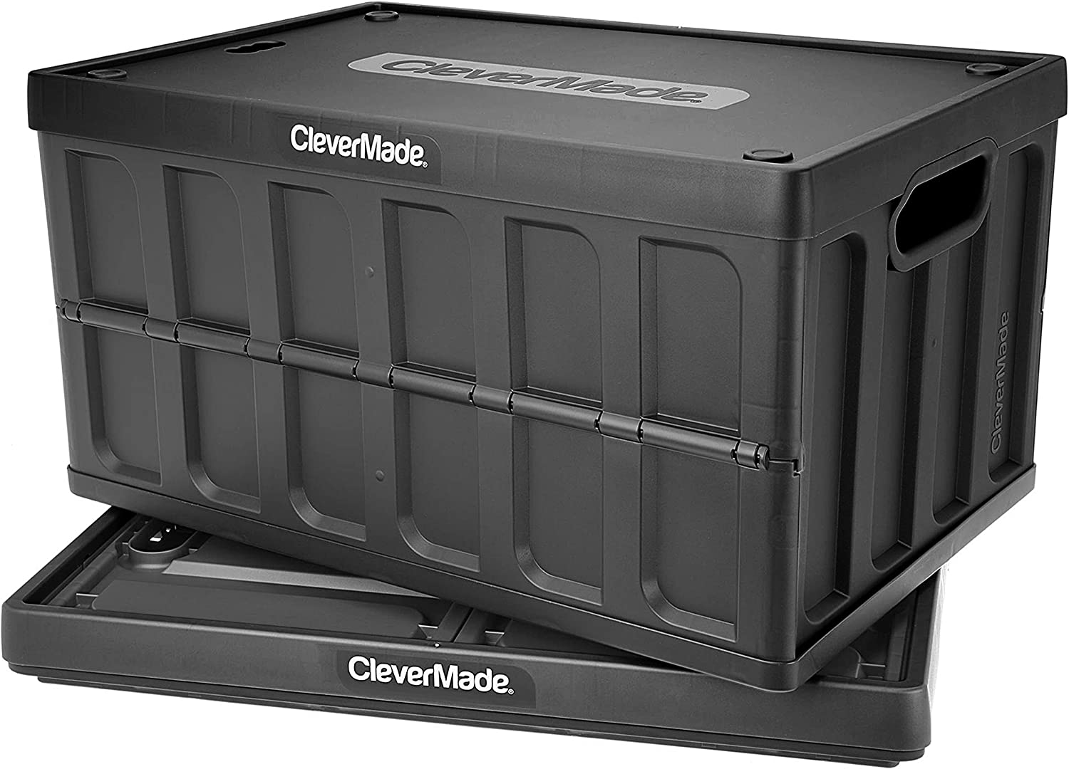 Black CleverMade 62L Collapsible Storage Bins with Lids Folding Plastic Stackable Utility Crates Solid Wall CleverCrates 2 Pack