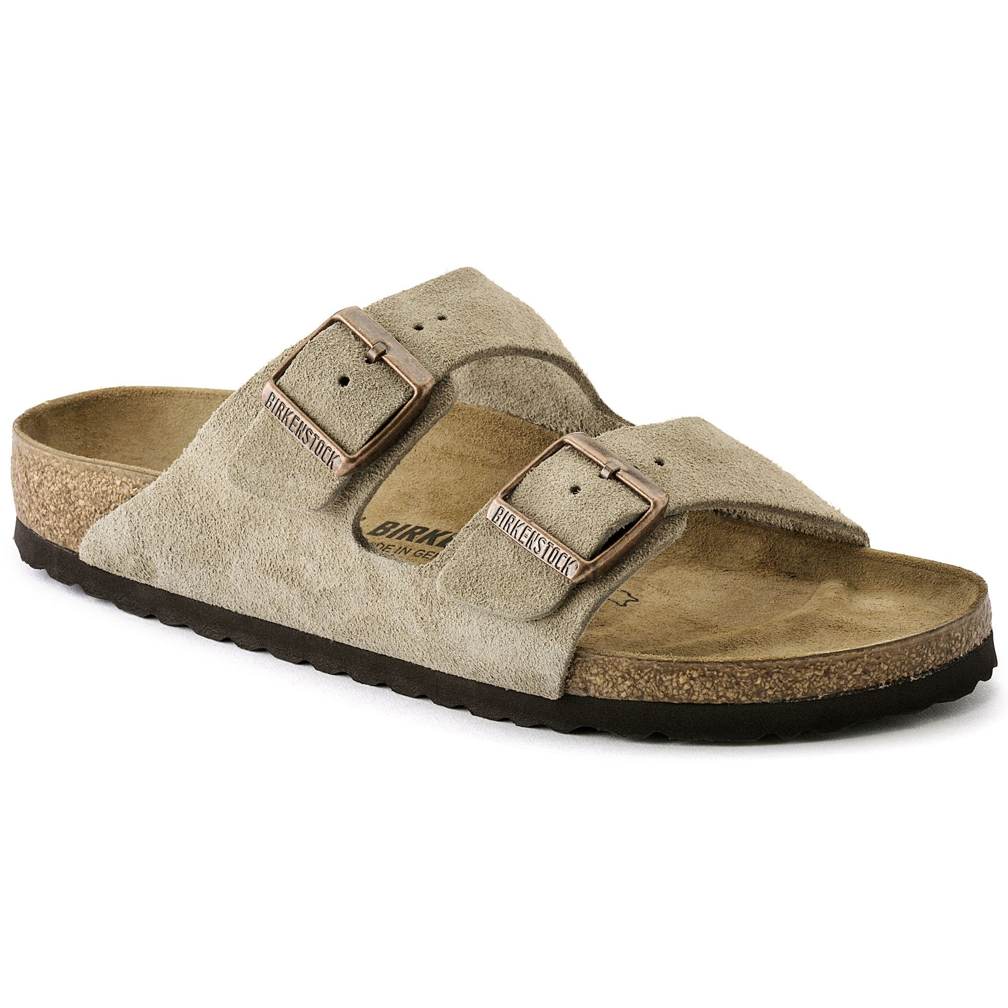 Birkenstock Arizona 2-Strap Suede Leather Sandals, Taupe, Unisex, 39 N EU Narrow Width - US Women 8-8.5