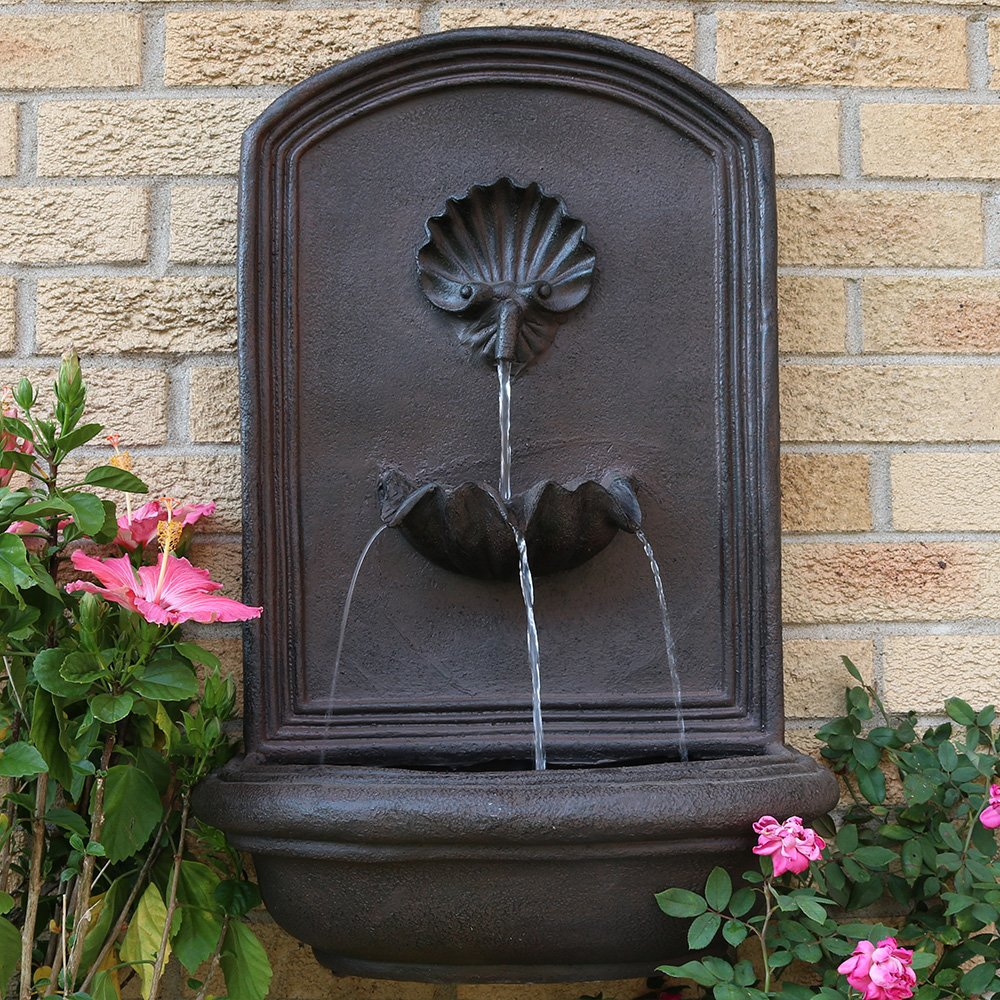 Sunnydaze Seaside Outdoor Wall Fountain, with Electric Submersible Pump 27-Inch, Iron Finish