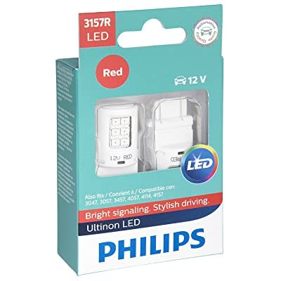 Philips 3157 Ultinon LED Bulb (Red), 2 Pack: Automotive