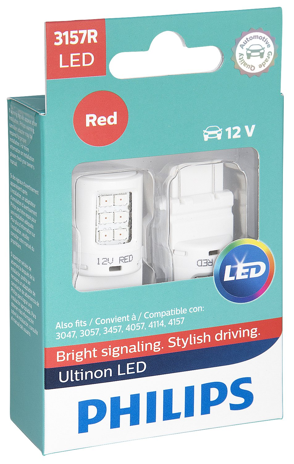 Philips 3157 Ultinon LED Bulb (Red), 2 Pack by Philips
