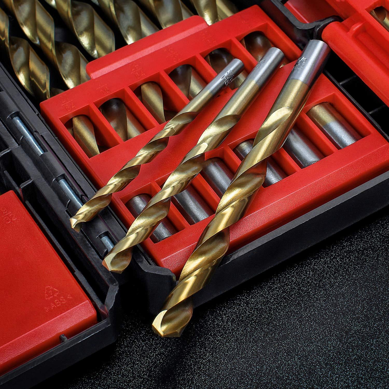 f/ür Holz,Metall,Glas WORKPRO Spiralbohrer Metall Bohrer Set aus Titanium HSS Handspiralbohrer mit stabilem ABS Aufbewahrungskoffer 29 tlg