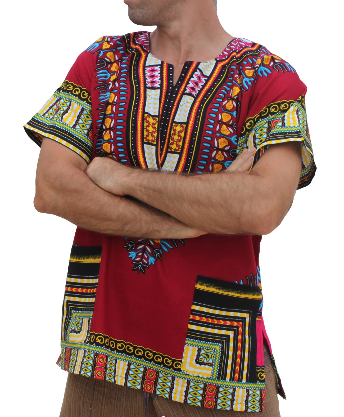 RaanPahMuang Unisex African Bright Dashiki Cotton Shirt , Burgundy, Large by Raan Pah Muang