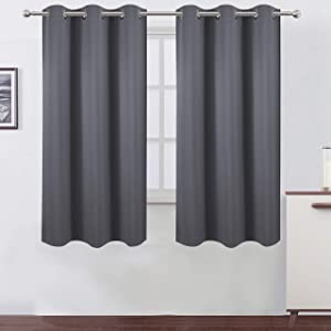 LEMOMO Grey Blackout Curtains 42 x 63 Inch/Gray Curtains Set of 2 Panels/Thermal Insulated Room Darkening Curtains for Bedroom