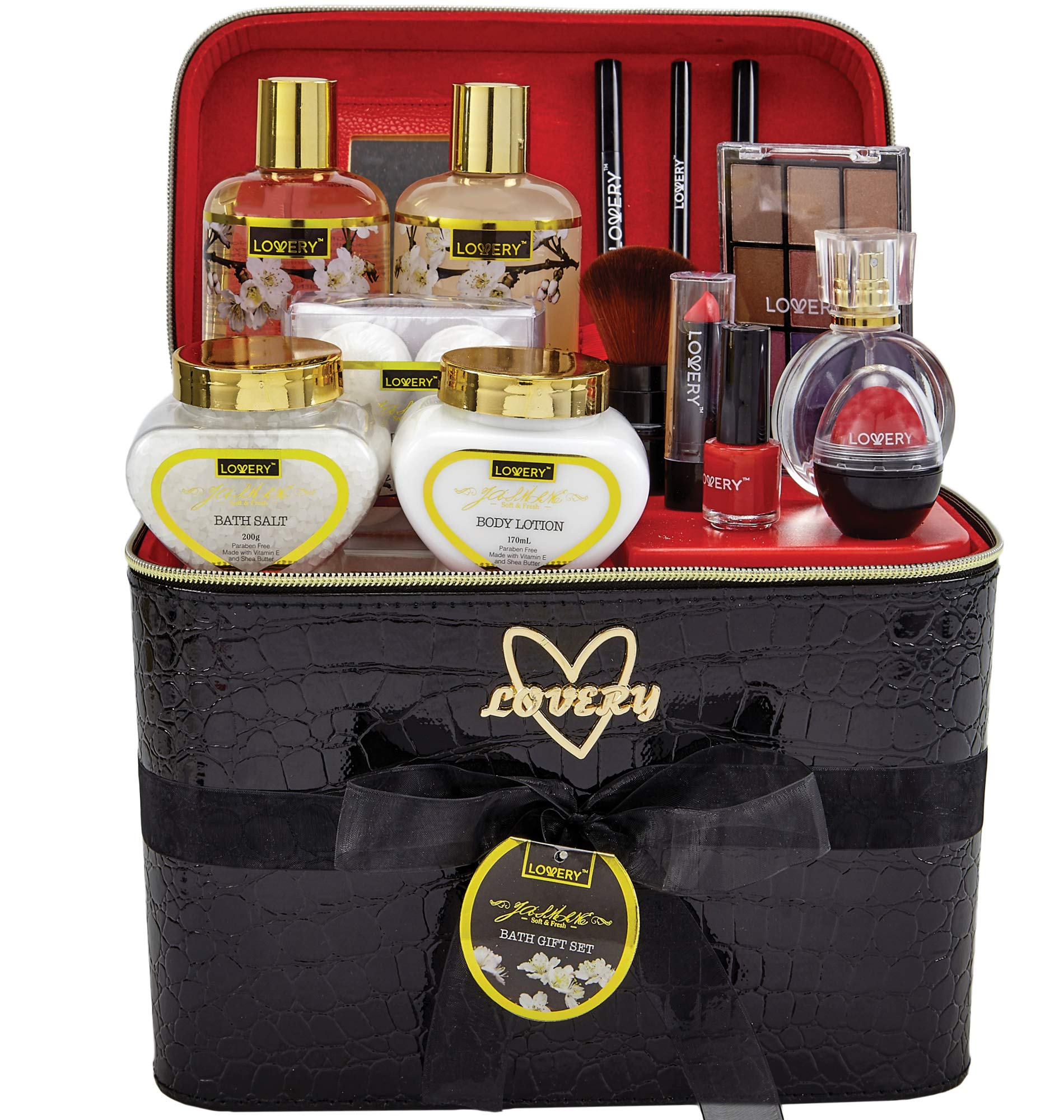 Premium Bath and Body Gift Basket For Women - 30 Piece Set, Floral Jasmine Home Spa & Makeup Set, Includes Cosmetic Pencils, Lip Balms, Lotions, Perfume, Black Leather Cosmetic Bag & Much More